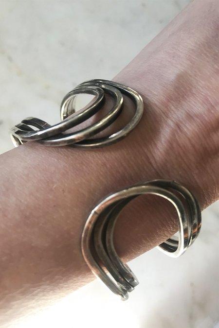 Deborah Foreman Midcentury Swirl Clasp Silver Cuff