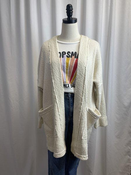 [pre-loved] Whimsey + Row Recycled Cotton Cardigan - Cream