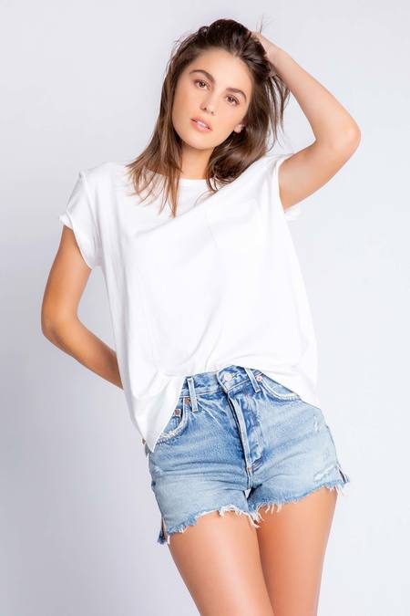PJ Salvage Back To Basics Solid Short Sleeve Tee Shirt - Ivory