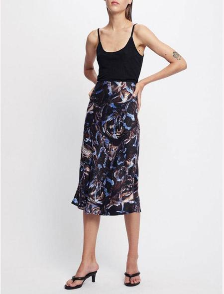 Silk Laundry Bias Cut Skirt - snake