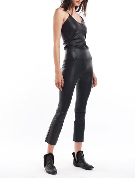 SPRWMN Crop Flare Leather Pant - Black