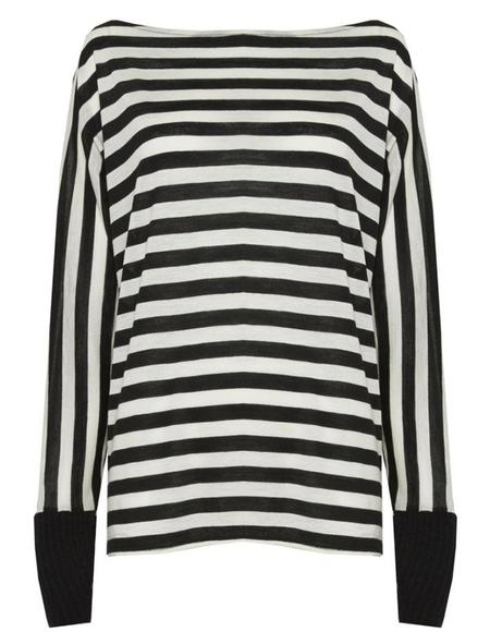 Alice + Olivia Boatneck Slouchy Long Sleeve Shirt - Black/White
