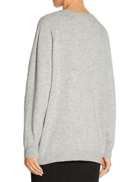 T By Alexander Wang Cashwool Deep V-Neck Sweater - Heather Grey