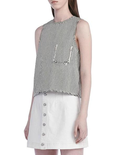 T By Alexander Wang Frayed Crop Top - Black/White