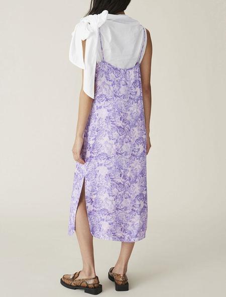 Ganni Heavy Satin Slip Dress - Violet Tulip