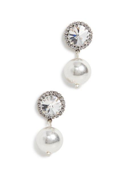 gold Leo Crystal Earrings - silver