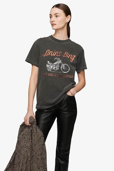 Anine Bing Lili Motorcycle Tee  - Charcoal Washed Grey