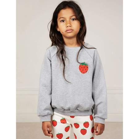 Kids Mini Rodini STRAWBERRY EMBROIDERY SWEATSHIRT - Gray