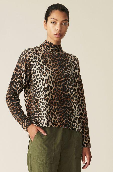 Ganni Print Knit Pullover - Leopard