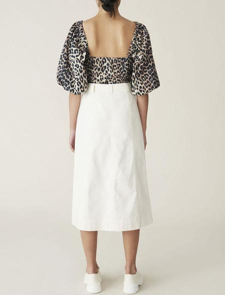 Ganni Printed Cotton Poplin Puff Sleeve Top - Leopard