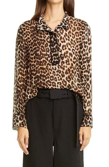 Ganni Printed Georgette Shirt - Leopard