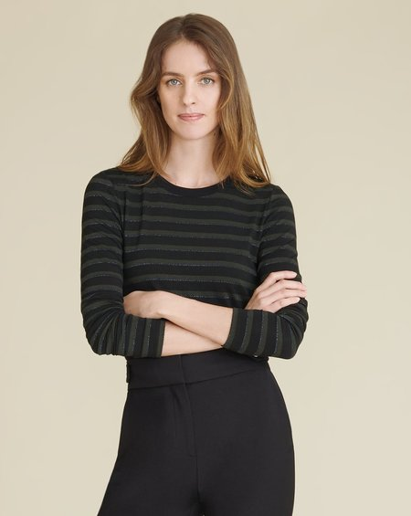 Veronica Beard Shanley Striped Tee - Evergreen Multi