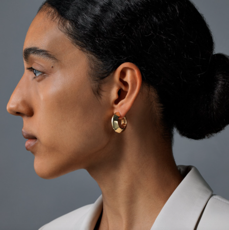 Jenny Bird Wide Hinged Hoops - 14K gold-dipped/brass