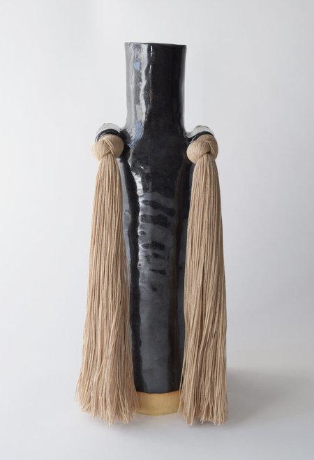 Karen Gayle Tinney #703 Vase - Beige/Black