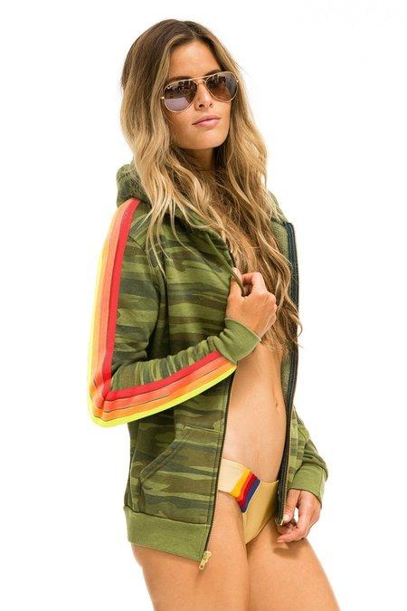 UNISEX Nation 4 Stripe Bolt Zipped Hoodie - Camo/Neon