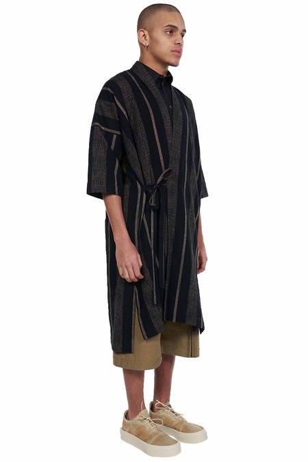 Jan-Jan Van Essche Bold Stripped Wrap Over Kimono - Navy/Grey