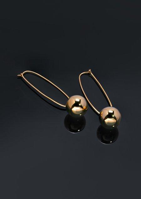 Modern Weaving Oval Hoop Bead Drop Earrings - Sterling Silver