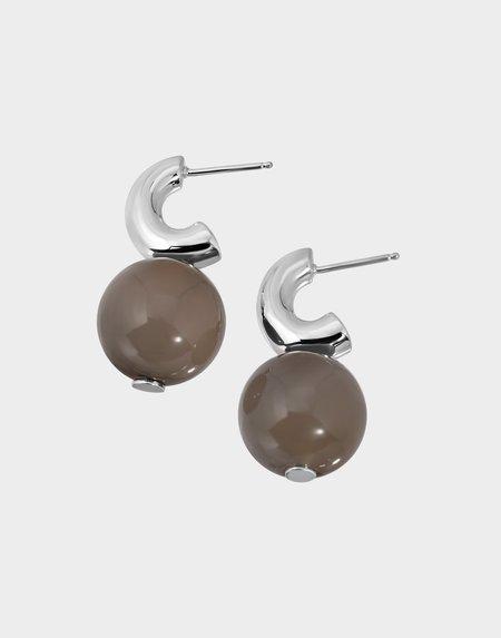 Modern Weaving Petite C- Curve Hoop Earrings - Grey Onyx