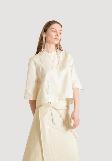 OK KINO Cropped Blouse - White