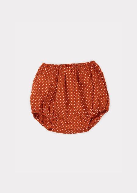 Kids Caramel Grouper Baby Bloomer - Rust Dot