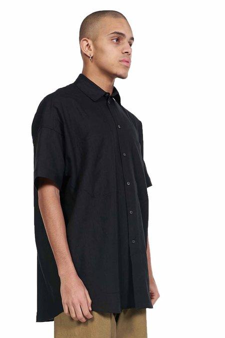 Jan-Jan Van Essche Linen Short Sleeve Shirt - Black