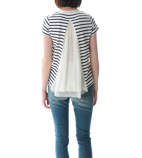 Sacai Luck Striped T-shirt with Satin Back