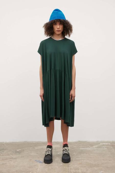 Kowtow Gather Dress - bottle-green