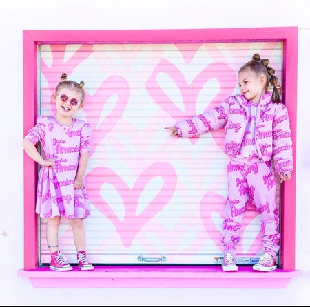 KIDS Banana Valentine You're Amazing Puff Sleeve Dress - pink