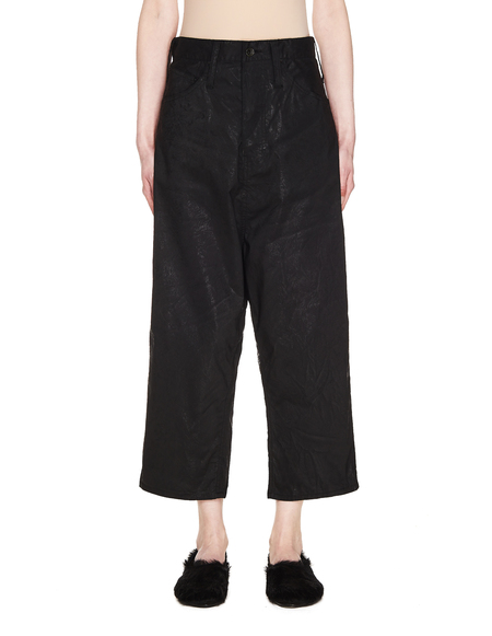 L.G.B. Cropped Wide Drawstring Trousers - Black
