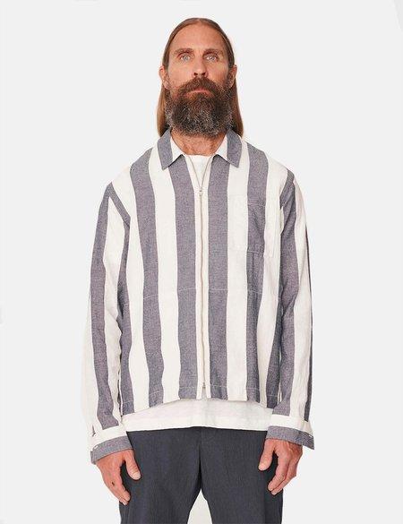 YMC Bowie Striped Zip Shirt - Navy Blue/Ecru