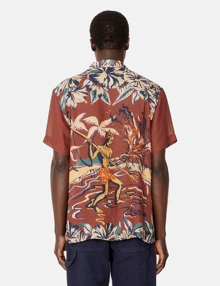 YMC Malick Short Sleeve Shirt - Hawaiian/Red