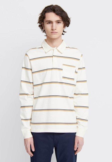 Wood Wood Beck Long Sleeve Polo - off white stripes