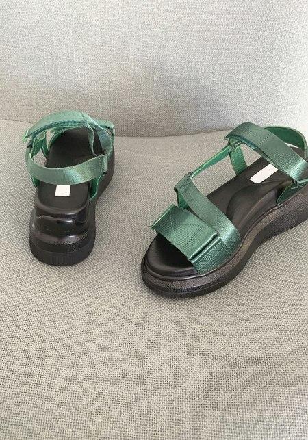 Suzanne Rae Velcro Sandal - Green