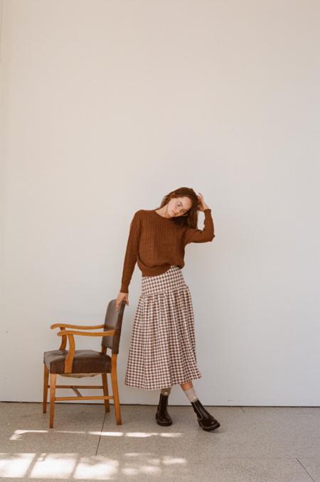 Wellington Factory Ester Skirt - Brown Gingham