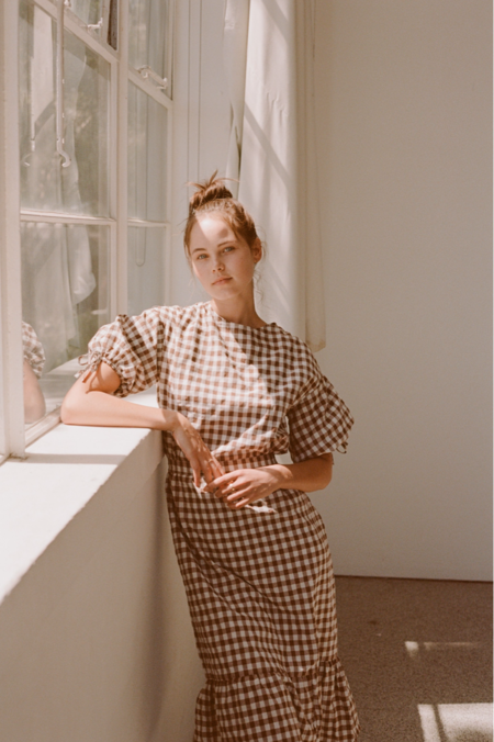 Wellington Factory Frankie Dress - Brown Gingham