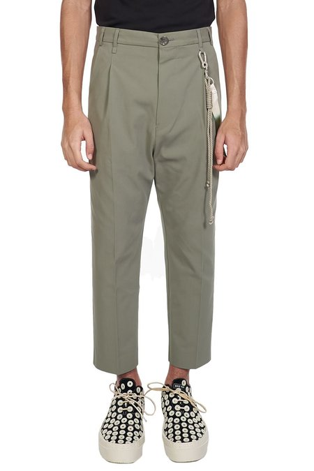 Song for the Mute Single Pleated Tapered Pants - Olive