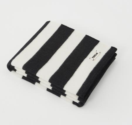 TEKLA Wool Throw Blanket - Black/White Stripe