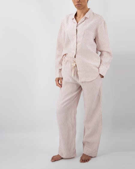 Sunday Morning Naya striped linen pajama set