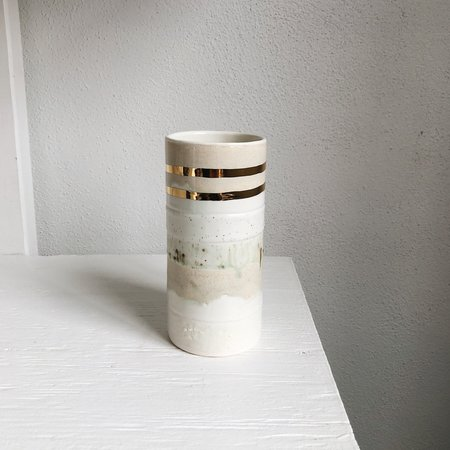 The Object Enthusiast Neutral Striped Cylinder Vase - Gold