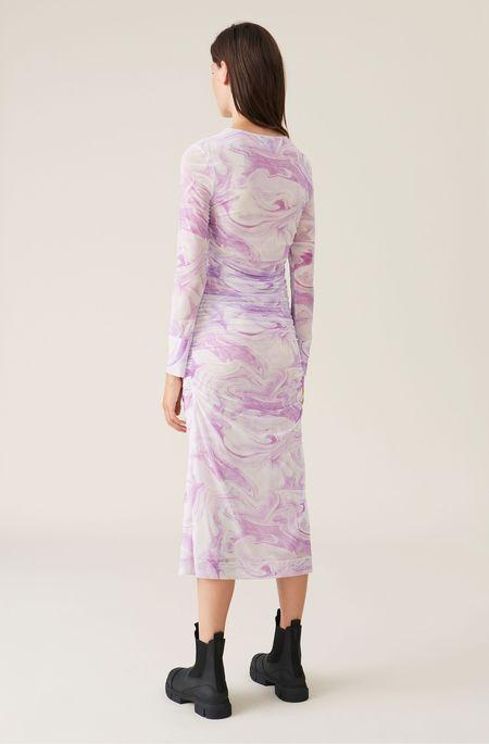 Ganni Printed Mesh Dress - Orchid Bloom