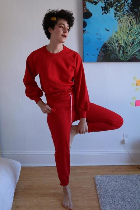 Hannah Isolde Ruffle Sweatpants - Red