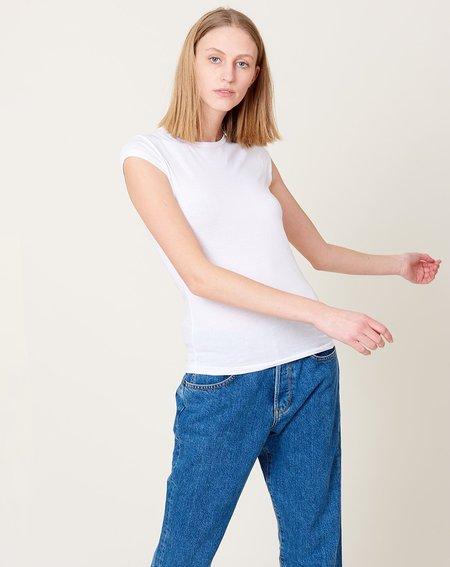Organic John Patrick Short Sleeve Shirttail top - White