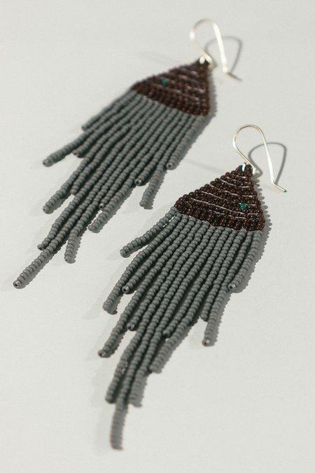 Lu in the Frey Fringe Earrings - gold-fill/grey/sienna