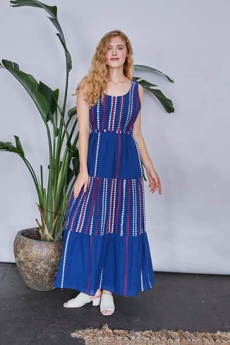 RUJUTA SHETH Gema Tier Dress - Iris Merida Stripes