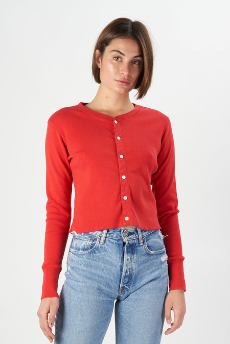 Re/Done 50s Cropped Button LS Vintage Top - Red