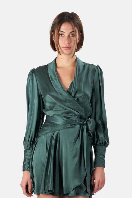 Zimmermann Silk Wrap Mini Dress - Clover
