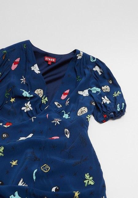 Staud Good Vibes Print Mila Dress - blue