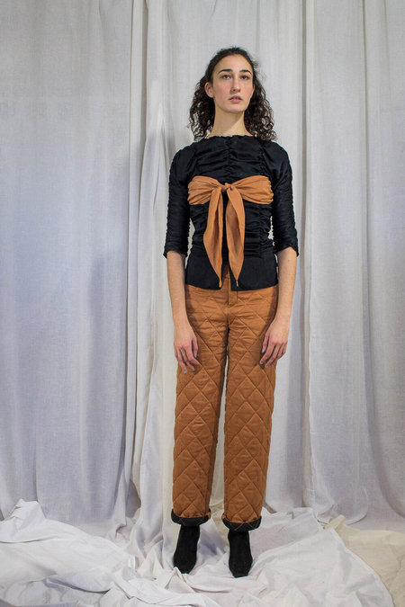 Kahle ROUCHED-TIE TOP - Black/Orange