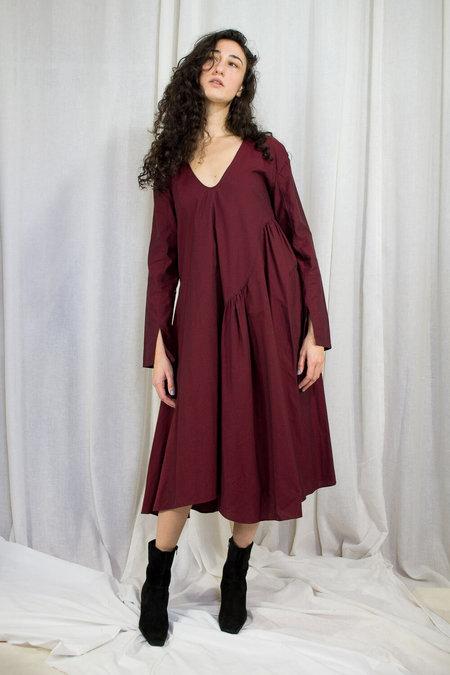 Kahle GATHERED INSET DRESS - GARNET