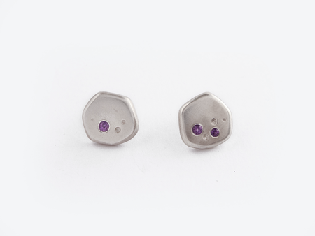 Sara Golden Meteorite Stud Earrings (Silver)